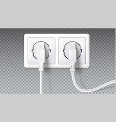 electric plugs in socket realistic white plugs vector image vector image