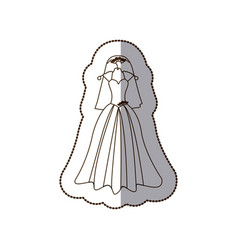 elegant bride dress with veil icon vector image