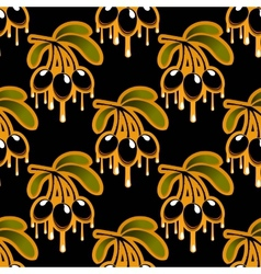 Seamless background pattern of olive oil dripping vector