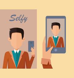 young man making selfie vector image