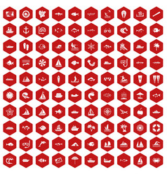 100 sea icons hexagon red vector