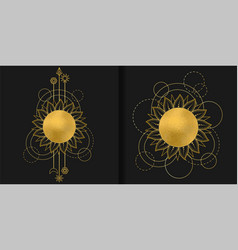 Abstract patterns set with gold sun moon star vector