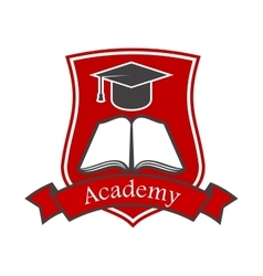 Academy shield emblem icon for university vector image