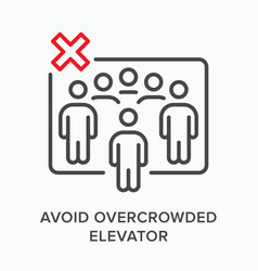 Avoid overcrowded elevator flat line icon vector