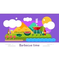Barbecue and food icons set outdoor vector