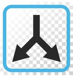 Bifurcation Arrow Down Icon In a Frame vector