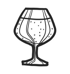 black beer glass icon hand drawn style vector image