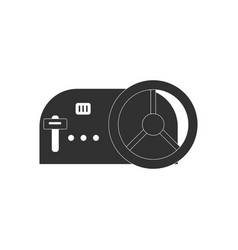 Black icon on white background steering wheel and vector
