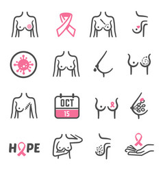 breast cancer prevention female care and vector image