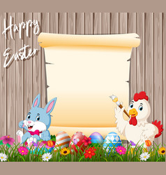 bunny and rooster painting egg with blank sign vector image