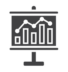 Business growing chart on board solid icon vector