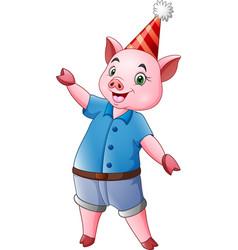 cartoon happy pig in a party cap vector image