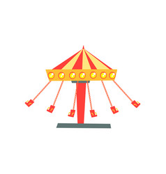cartoon icon of swinging carousel with seats on vector image