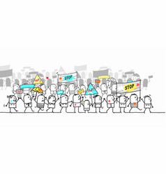 Cartoon protesting and walking group people vector