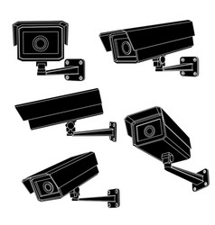 Cctv security cameras black outline drawing vector