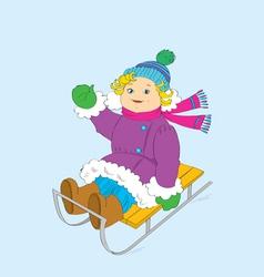 cheerful girl on a sledge vector image