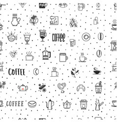 coffee seamless pattern grains of coffee coffee vector image