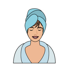 Color image cartoon half body woman with towel in vector