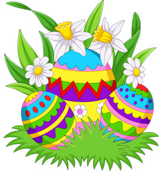 colorful easter eggs background on the grass vector image
