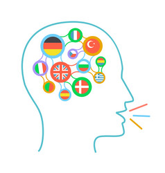 concept of language learning icon vector image