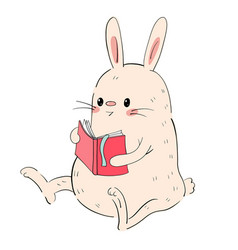 cute bunny with a book vector image