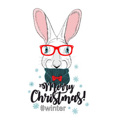Cute chrismas card with young rabbit vector