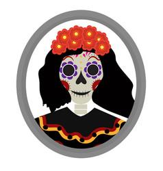 dia de los muertos calavera katrina icon day of vector image