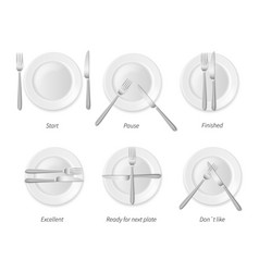dining etiquette white porcelain plates with vector image