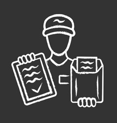 document delivery chalk icon express courier vector image