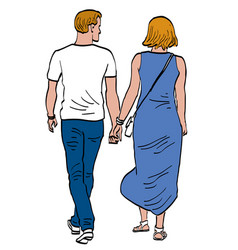 Drawing couple young citizens walking outdoors vector