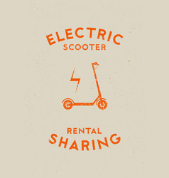 Electric scooter rental and sharing logo poster vector