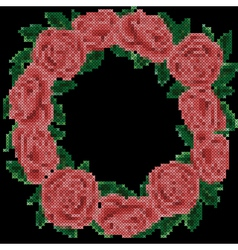 Embroidery roses frame on black background vector