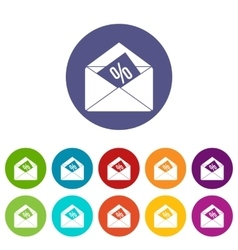 Envelope with percentage set icons vector image