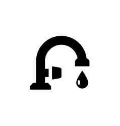 faucet glyph icon and drop water from tap vector image