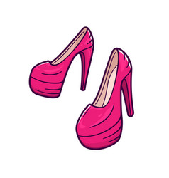 female pink shoes with high heels icon vector image