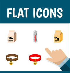flat icon pets set of hound necklace fish vector image