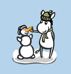 Fun donkey with snowman Winter season vector image