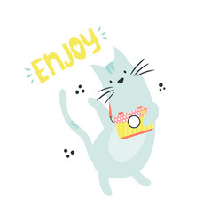 funny cat photographer vector image
