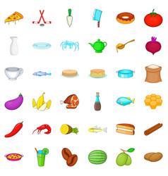 gastronomy icons set cartoon style vector image
