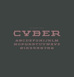Geometric slab serif font in sport style vector