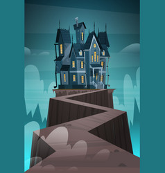 Gothic castle house in moonlight scary building vector