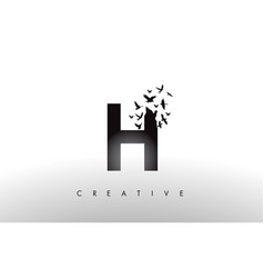 H logo letter with flock of birds flying and vector