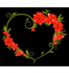 Heart frame of hibiscus flower vector