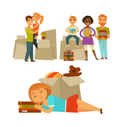 Home move people moving new house flat vector
