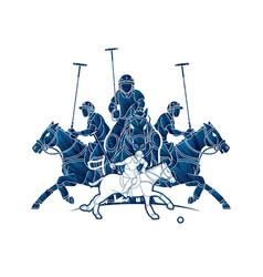 Horses polo players action cartoon cartoon graphic vector