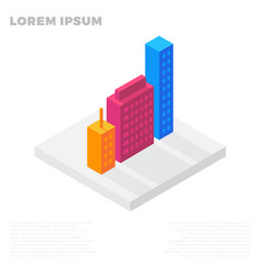 isometric city or life buildings in a residential vector image
