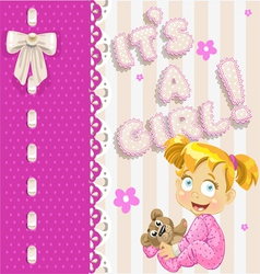 Its a girl openwork card for your announcement vector