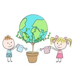 Kids growing a planet vector