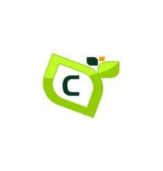 leaf initial c logo design template vector image