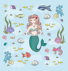 Mermaid and fish fry stones and seaweed vector